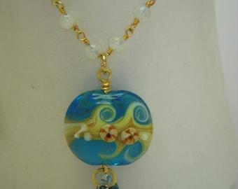 Glass wave pendant necklace