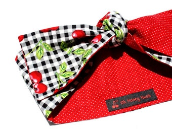 Vintage Inspired Head Scarf, Black Gingham, Red Cherries, Retro, Rockabilly