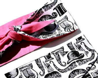 Vintage Inspired Head Scarf, Mustaches, Top Hats, Pink or Black, Retro