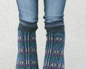 Upcycled Recycled Repurposed Sweater Leg Warmers Geometric Blue Black Purple Teal Tribal Fall Winter Fashion