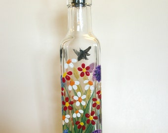 Hand painted pour bottle, soap, oil, vinegar with wild flowers purple yellow orange red blue green with black birds