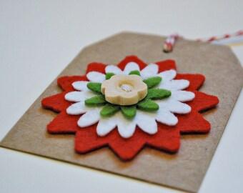 christmas gift tags kraft christmas tags christmas tags with felt flower