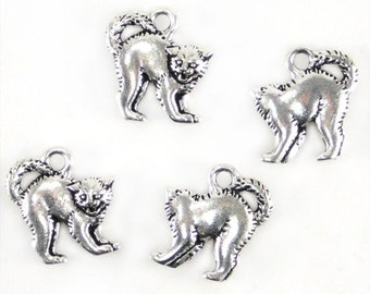 4 Silver Plated TierraCast Scary Cat Charms