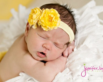 yellow baby headband, teal newborn headband, infant headband, toddler, photography prop