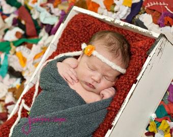 baby headband, Newborn photography props, Tiny Petite Orange Flower, newborn headband