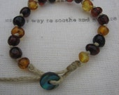 Dark Multi Coloured Baltic Amber Bracelet / Anklet, Amber Nurture.