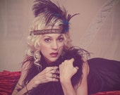 Gatsby 20s style flapper feather fascinator heaband. birthday parties, showers, costumes, weddings, brides, photos, props