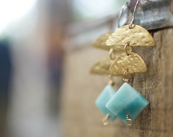 Geometric Jewelry, Earrings, Pale Blue, Amazonite Jewelry, Gift for Her
