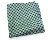 Men's Pocket Square in aqua blue, spicy yellow, gray, black, and white