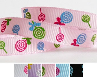 "5 Yards 3/8"" Grosgrain Ribbon - Pink with Colorful Lollipops (other colors also available)"