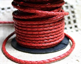 1 meter of 3mm Red  Braided Bolo Leather Cord