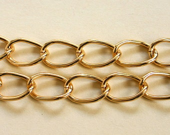 5ft Craft Chain Gold Aluminum Large 22x15x2mm twisted oval Links 22mm
