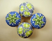 MIX of 8 Clay Cabinet Knobs/Pulls 4 of each Blue & Green      Polymer Clay over METAL