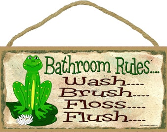 "FROG Bathroom Rules Wash Brush Floss Flush Funny 5"" x 10"" BATH SIGN Wall Plaque"