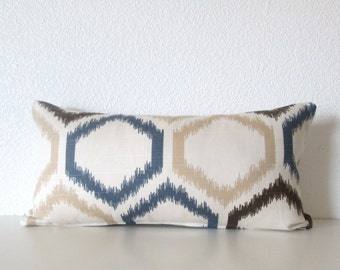 8x16 Dwell Studio Ikat Trellis Mineral - Ikat Mini Lumbar - Pillow Cover
