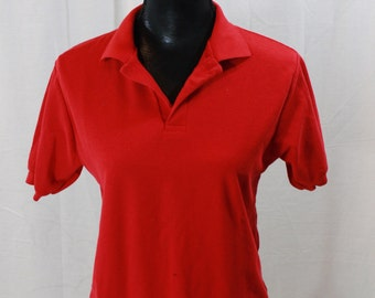 SALE ITEM Vintage 80s Mens Le Tigre polo shirt Red Polo SHirt