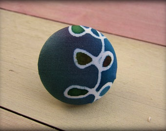 Covered Button Brooch  Blue Green Hand Painted Silk