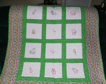 Embroidered Baby Quilt, Crib Quilt,  Animals, Green