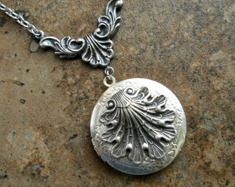 Victorian Seashell  Locket in Silver, Sea Life Locket by Enchanted Lockets
