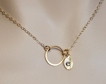 Personalized Jewelry, Gold Circle Ring Necklace, Monogram Jewelry,Hand Stamped Initial, Eternity Necklace,Karma Necklace, Everyday Jewelry