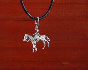 Side Saddle Women Riding Horse Sterling Silver Pendant Rare and Hard to Find,Equestrian Jewelry,Horse Pendant