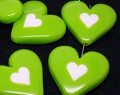 4 Huge Acrylic Puff Heart Bead. Lime Green with White Heart