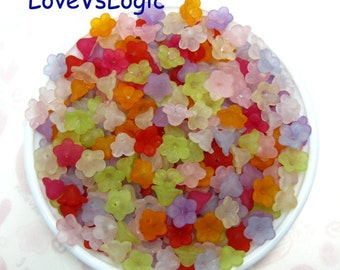 100 Acrylic Flower Beads Charms.Mix Matte Colors.