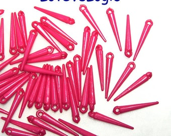 60 Mini Spikes Acrylic Charms. Fuchsia.