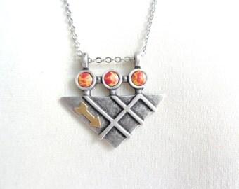 Arrow geometric necklace pendant in orange