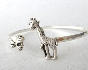 Frog giraffe bracelet wrap style, animal bracelet, charm bracelet, bangle