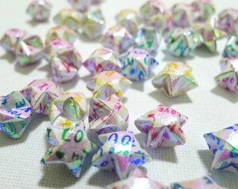 100 Sweet Message Pearlescent Origami Lucky Stars