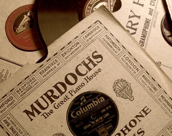 Old Records Photography 78s Still Life Neutral Sepia Black Brown Home Decor 10x8 Murdochs...