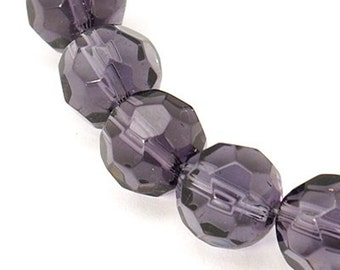 Full Strand Eggplant, dark Plum Purple, Faceted Round Glass Crystal, 10mm, 30-32 beads