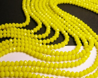 Crystal faceted rondelle - 100 beads -  6 mm - AA quality - vivid yellow - 17 inch strand - CRV107