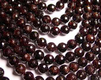 Garnet  - 10 mm faceted round beads -1 full strand - 38 beads - A quality - Red