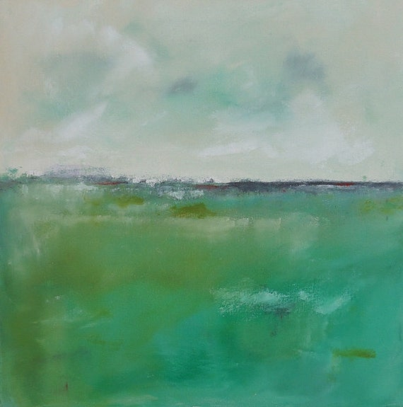 Green Landscape Seascape Painting Original Art - Coastal Greens 20 x 20