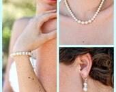 Bridal Pearl Set,Pearl Bridal Necklace Set,Pearl Bridal Bracelet,Wedding Bridal Set,Vintage Bridal Pearl Wedding Set,Bridal Earrings,KRISTEN