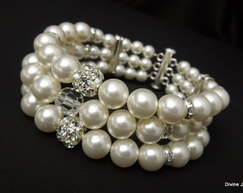 bridal pearl rhinestone Bracelet, Statement Bridal Bracelet, Bridal Cuff, Wedding Rhinestone Bracelet, swarovski pearl bracelet, VERONICA