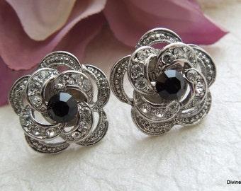 black Bridal rhinestone Earrings Stud Earrings Bridal Rhinestone Earrings Rhinestone Earrings Wedding Earrings swarovski Earrings ROSELANI