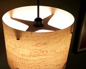 "LARGE 14"" Real Wood Veneer Hanging Pendant Lamp  -  Modern Lighting Lampshade"
