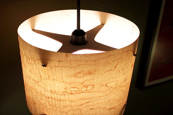 Large 14 Real Wood Veneer Hanging Pendant Lamp By Portrhombus