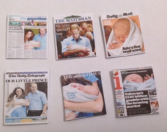 "Dolls House Miniatures -  6 x UK Newpapers - Royal Baby ""Cambridge"" First Photo 1/12th"