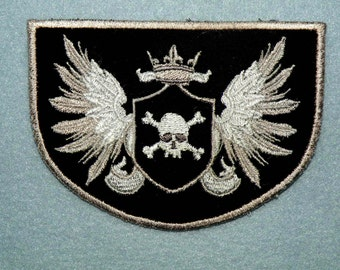Skull and Crossbones Crest Iron on Patch