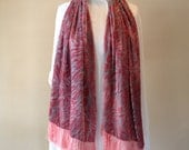 Pink and Charcoal Grey Animal Print Silk and Velvet Burnout Shawl Scarf with short fringe