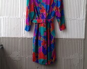 80s Vintage Adrianna Papell Silk Button Front Dress in Jeweltones