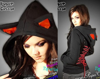 Hoodie black cat ears red corset kawaii