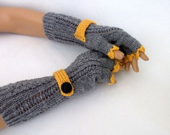 Gray and mustard yellow Half Finger Gloves With a Strap-Fingerless Gloves, Arm Warmers