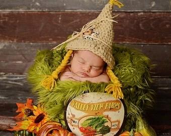Little Girl Newborn Girl  Scarecrown Hat/ Girl Scarecrow Hat/ Crochet Scarecrow Hat/ Halloween Newborn Prop