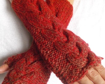 Knt Fingerless Gloves Cabled Woolen Arm Warmers Extra Warm Green Rust Red