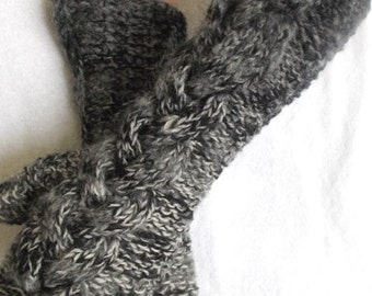 Fingerless Gloves Cabled Arm Warmers in Grey Shades Extra Warm